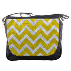Chevron9 White Marble & Yellow Leather Messenger Bags by trendistuff