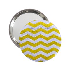 Chevron3 White Marble & Yellow Leather 2 25  Handbag Mirrors by trendistuff