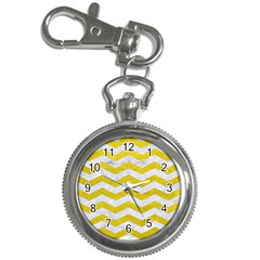 Chevron3 White Marble & Yellow Leather Key Chain Watches by trendistuff