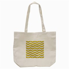 Chevron3 White Marble & Yellow Leather Tote Bag (cream) by trendistuff