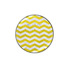 Chevron3 White Marble & Yellow Leather Hat Clip Ball Marker by trendistuff