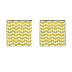 Chevron3 White Marble & Yellow Leather Cufflinks (square) by trendistuff