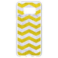 Chevron3 White Marble & Yellow Leather Samsung Galaxy S8 White Seamless Case by trendistuff