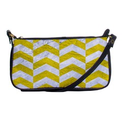 Chevron2 White Marble & Yellow Leatherchevron2 White Marble & Yellow Leather Shoulder Clutch Bags by trendistuff
