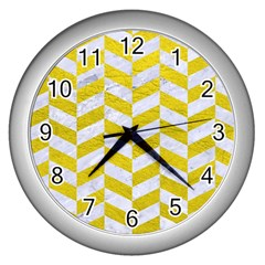 Chevron1 White Marble & Yellow Leather Wall Clocks (silver)  by trendistuff