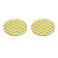 Chevron1 White Marble & Yellow Leather Cufflinks (oval) by trendistuff