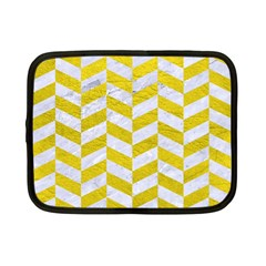 Chevron1 White Marble & Yellow Leather Netbook Case (small)