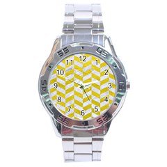 Chevron1 White Marble & Yellow Leather Stainless Steel Analogue Watch by trendistuff