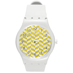 Chevron1 White Marble & Yellow Leather Round Plastic Sport Watch (m) by trendistuff