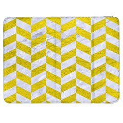 Chevron1 White Marble & Yellow Leather Samsung Galaxy Tab 7  P1000 Flip Case by trendistuff