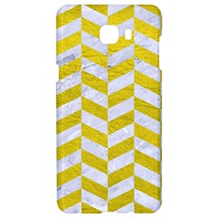 Chevron1 White Marble & Yellow Leather Samsung C9 Pro Hardshell Case  by trendistuff