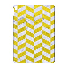 Chevron1 White Marble & Yellow Leather Apple Ipad Pro 10 5   Hardshell Case by trendistuff