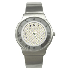 Brick2 White Marble & Yellow Leather (r) Stainless Steel Watch by trendistuff