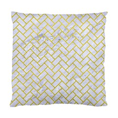 Brick2 White Marble & Yellow Leather (r) Standard Cushion Case (one Side) by trendistuff