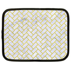 Brick2 White Marble & Yellow Leather (r) Netbook Case (xxl)  by trendistuff