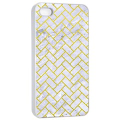 Brick2 White Marble & Yellow Leather (r) Apple Iphone 4/4s Seamless Case (white) by trendistuff