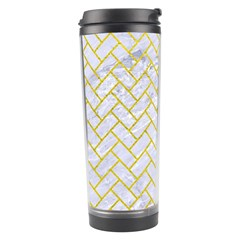 Brick2 White Marble & Yellow Leather (r) Travel Tumbler by trendistuff