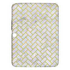 Brick2 White Marble & Yellow Leather (r) Samsung Galaxy Tab 3 (10 1 ) P5200 Hardshell Case  by trendistuff