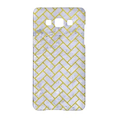 Brick2 White Marble & Yellow Leather (r) Samsung Galaxy A5 Hardshell Case  by trendistuff