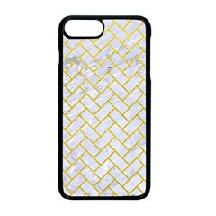 Brick2 White Marble & Yellow Leather (r) Apple Iphone 8 Plus Seamless Case (black)