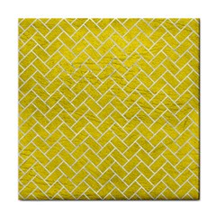 Brick2 White Marble & Yellow Leather Tile Coasters by trendistuff