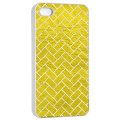 Brick2 White Marble & Yellow Leather Apple Iphone 4/4s Seamless Case (white) by trendistuff