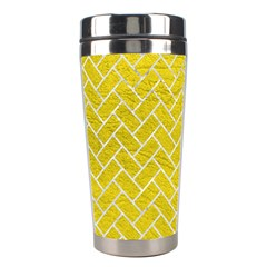 Brick2 White Marble & Yellow Leather Stainless Steel Travel Tumblers by trendistuff