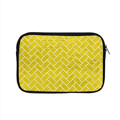 Brick2 White Marble & Yellow Leather Apple Macbook Pro 15  Zipper Case by trendistuff