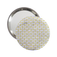 Brick1 White Marble & Yellow Leather (r) 2 25  Handbag Mirrors by trendistuff