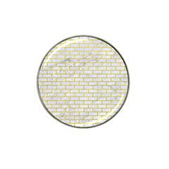 Brick1 White Marble & Yellow Leather (r) Hat Clip Ball Marker (4 Pack) by trendistuff
