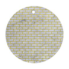 Brick1 White Marble & Yellow Leather (r) Round Ornament (two Sides) by trendistuff