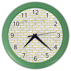 Brick1 White Marble & Yellow Leather (r) Color Wall Clocks by trendistuff