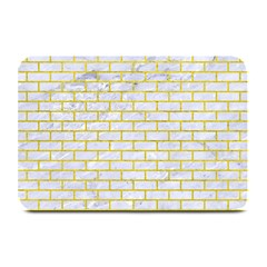 Brick1 White Marble & Yellow Leather (r) Plate Mats by trendistuff