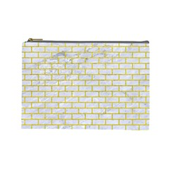 Brick1 White Marble & Yellow Leather (r) Cosmetic Bag (large)  by trendistuff