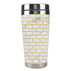 Brick1 White Marble & Yellow Leather (r) Stainless Steel Travel Tumblers by trendistuff