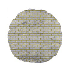 Brick1 White Marble & Yellow Leather (r) Standard 15  Premium Flano Round Cushions by trendistuff