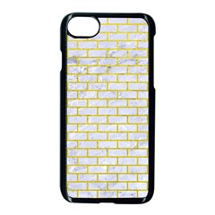Brick1 White Marble & Yellow Leather (r) Apple Iphone 8 Seamless Case (black) by trendistuff
