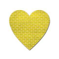 Brick1 White Marble & Yellow Leather Heart Magnet by trendistuff