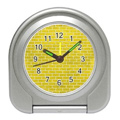 Brick1 White Marble & Yellow Leather Travel Alarm Clocks by trendistuff