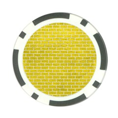 Brick1 White Marble & Yellow Leather Poker Chip Card Guard by trendistuff