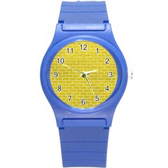 Brick1 White Marble & Yellow Leather Round Plastic Sport Watch (s) by trendistuff