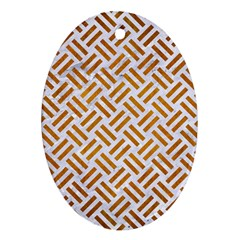 Woven2 White Marble & Yellow Grunge (r) Ornament (oval) by trendistuff