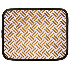 Woven2 White Marble & Yellow Grunge (r) Netbook Case (xl)  by trendistuff