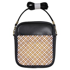 Woven2 White Marble & Yellow Grunge (r) Girls Sling Bags by trendistuff