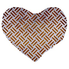 Woven2 White Marble & Yellow Grunge (r) Large 19  Premium Flano Heart Shape Cushions by trendistuff