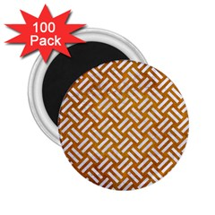Woven2 White Marble & Yellow Grunge 2 25  Magnets (100 Pack)  by trendistuff