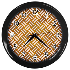 Woven2 White Marble & Yellow Grunge Wall Clocks (black) by trendistuff