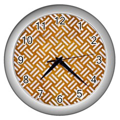 Woven2 White Marble & Yellow Grunge Wall Clocks (silver)  by trendistuff