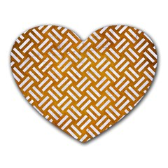 Woven2 White Marble & Yellow Grunge Heart Mousepads by trendistuff