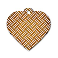 Woven2 White Marble & Yellow Grunge Dog Tag Heart (two Sides) by trendistuff